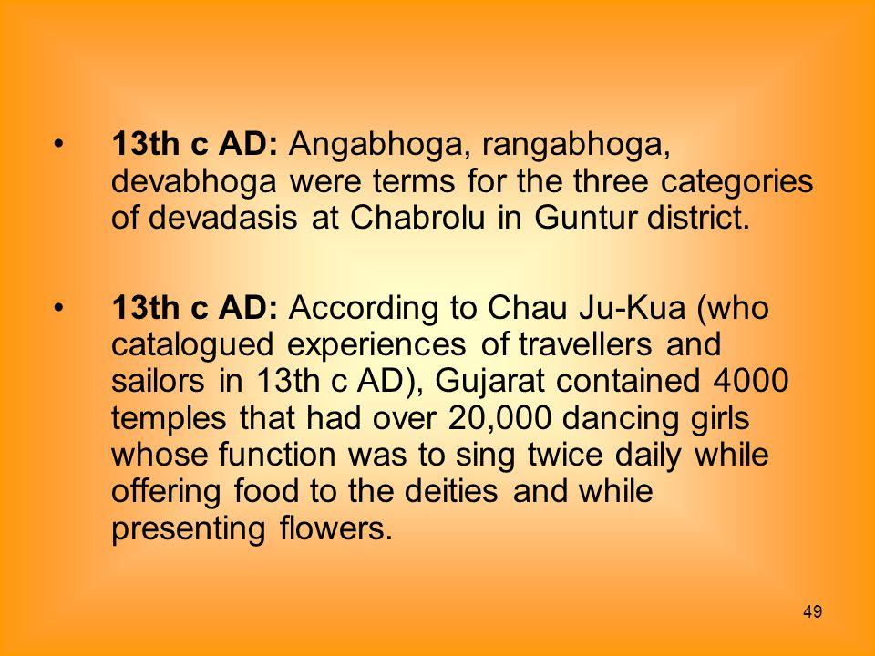 49 13th c AD: Angabhoga, rangabhoga, devabhoga were terms for the three categories of devadasis at Chabrolu in Guntur district. 13th c AD: According t
