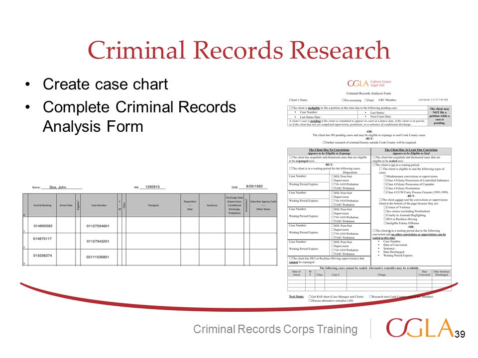 Criminal Records Research Criminal Records Corps Training Create case chart Complete Criminal Records Analysis Form 39