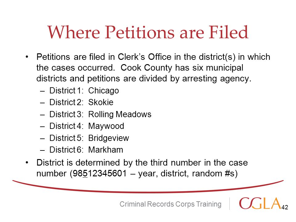 Where Petitions are Filed Petitions are filed in Clerk's Office in the district(s) in which the cases occurred.
