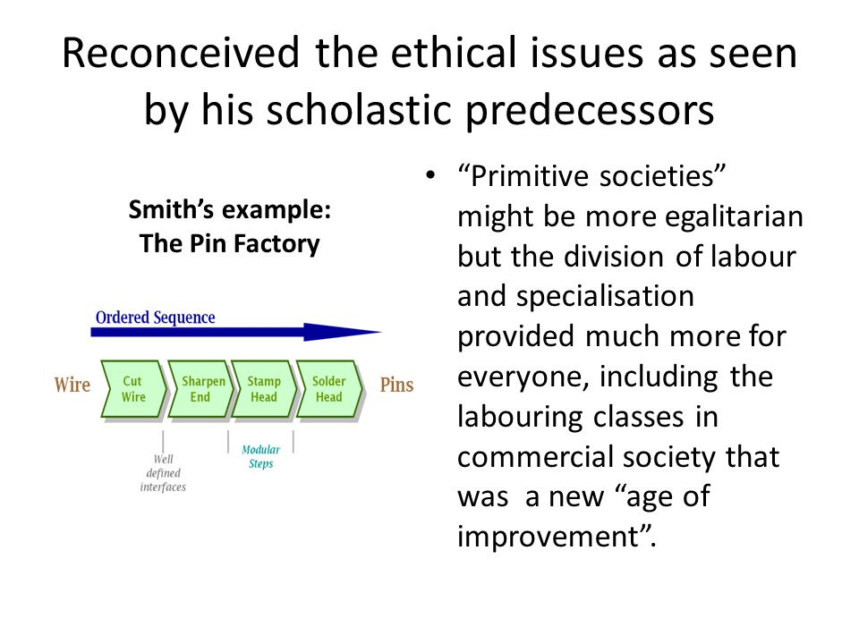 Reconceived the ethical issues as seen by his scholastic predecessors Primitive societies might be more egalitarian but the division of labour and specialisation provided much more for everyone, including the labouring classes in commercial society that was a new age of improvement .