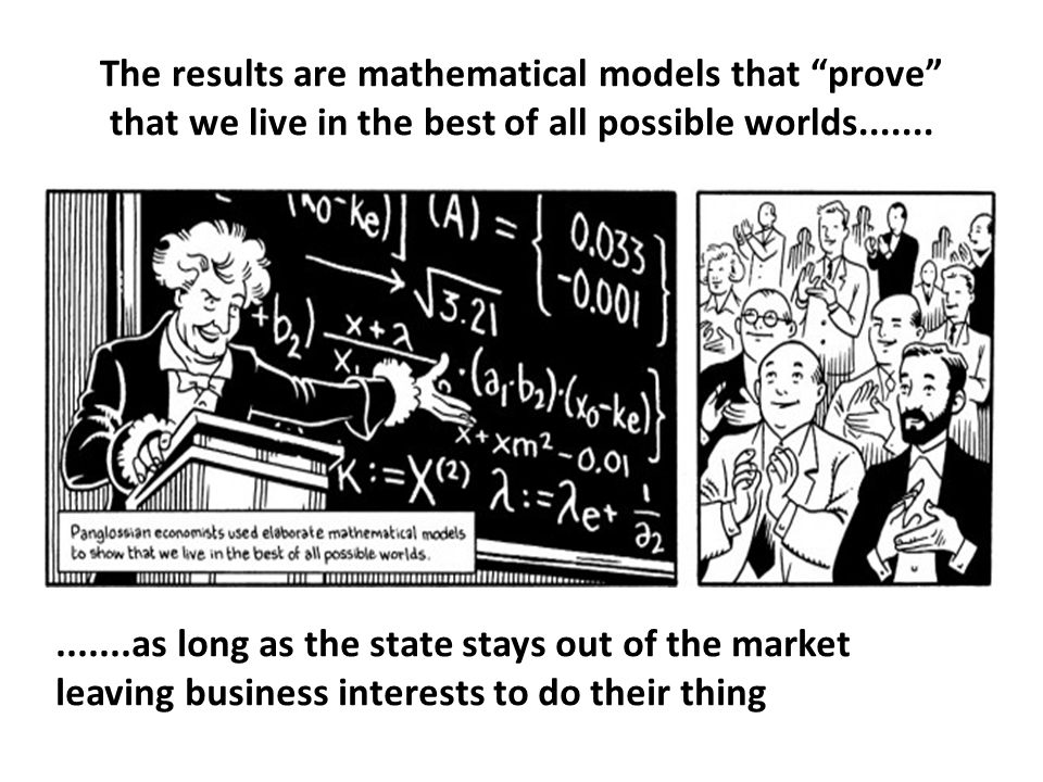 The results are mathematical models that prove that we live in the best of all possible worlds..............as long as the state stays out of the market leaving business interests to do their thing