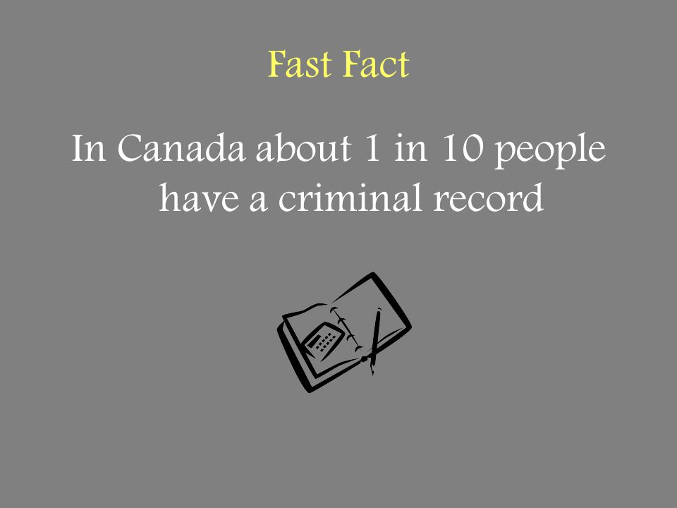 Fast Fact In Canada about 1 in 10 people have a criminal record