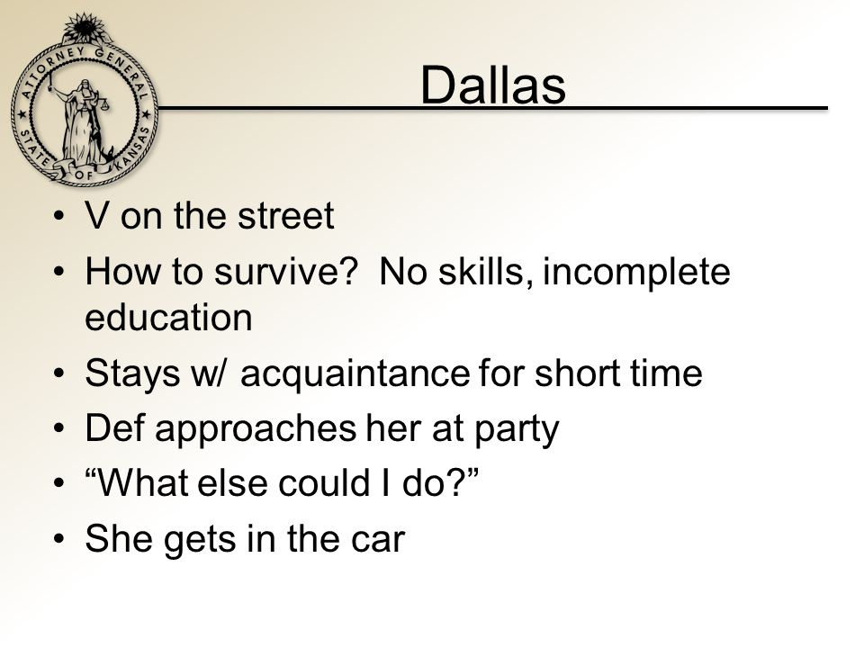 Dallas V on the street How to survive.