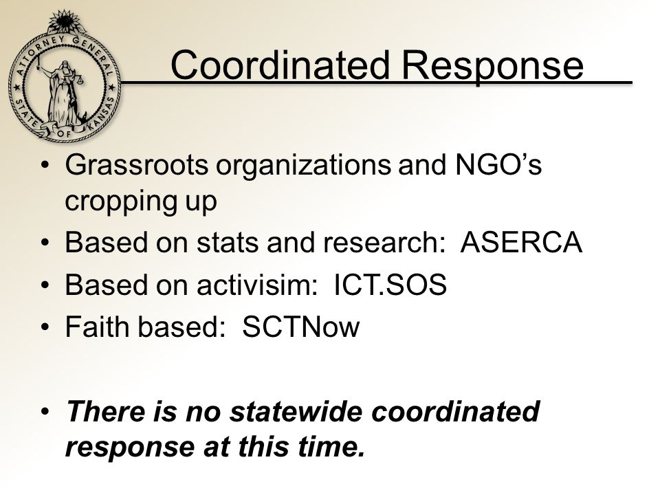 Coordinated Response Grassroots organizations and NGO's cropping up Based on stats and research: ASERCA Based on activisim: ICT.SOS Faith based: SCTNow There is no statewide coordinated response at this time.