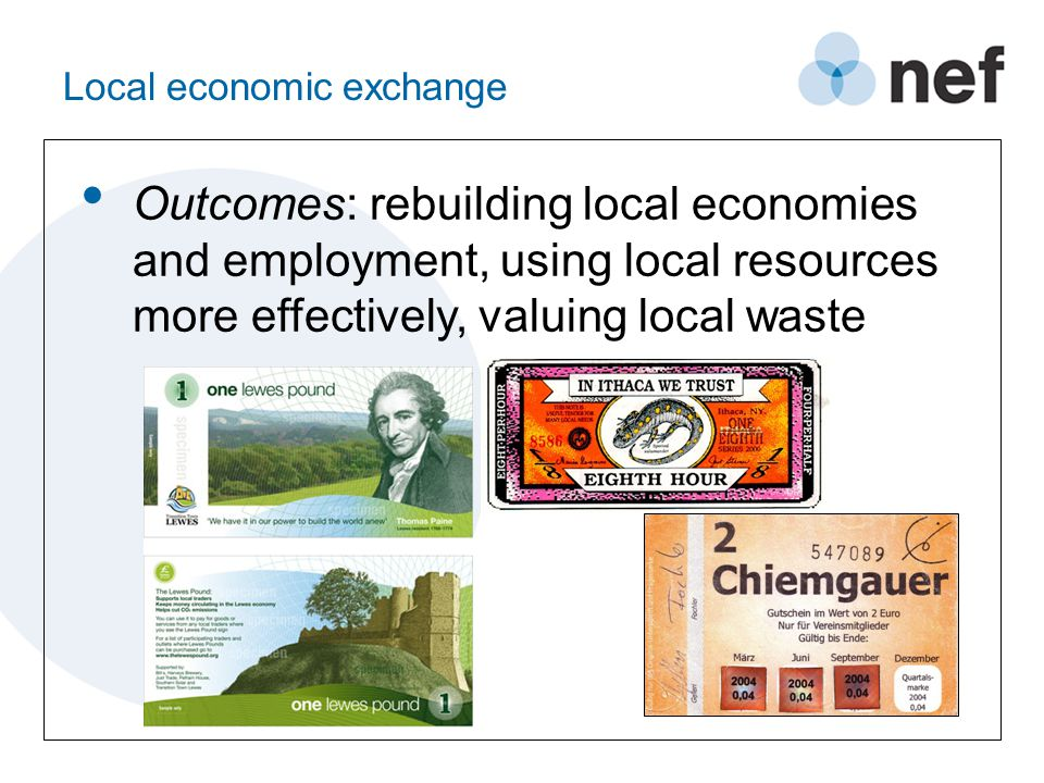 Backed exchange Outcomes: re-valuing local renewables, revaluing agricultural produce, providing reliable stores of value, supporting SMEs with factoring or credit
