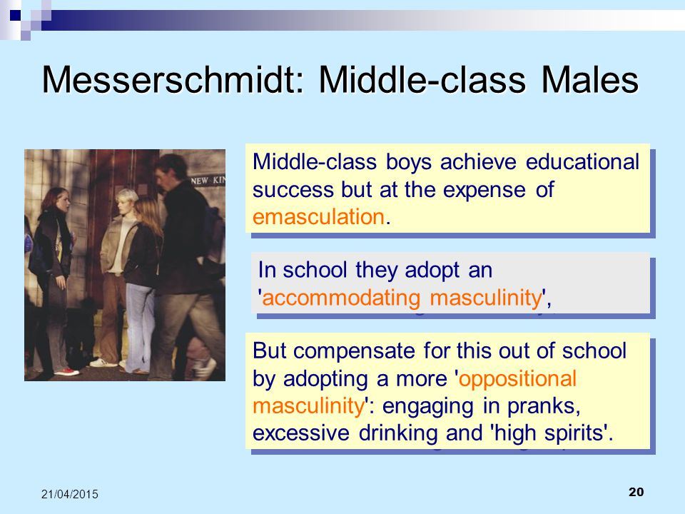20 21/04/2015 Messerschmidt: Middle-class Males Middle-class boys achieve educational success but at the expense of emasculation. In school they adopt