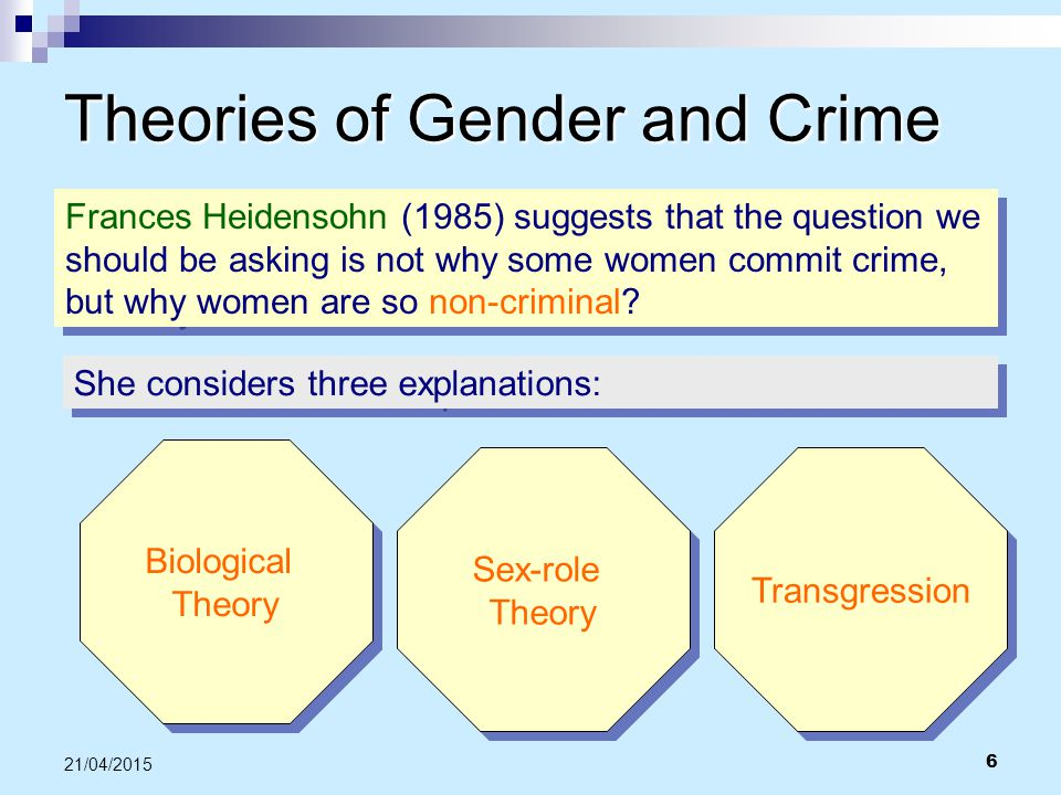 6 21/04/2015 Theories of Gender and Crime Frances Heidensohn (1985) suggests that the question we should be asking is not why some women commit crime,