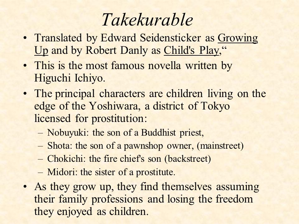 Takekurable Translated by Edward Seidensticker as Growing Up and by Robert Danly as Child s Play, This is the most famous novella written by Higuchi Ichiyo.