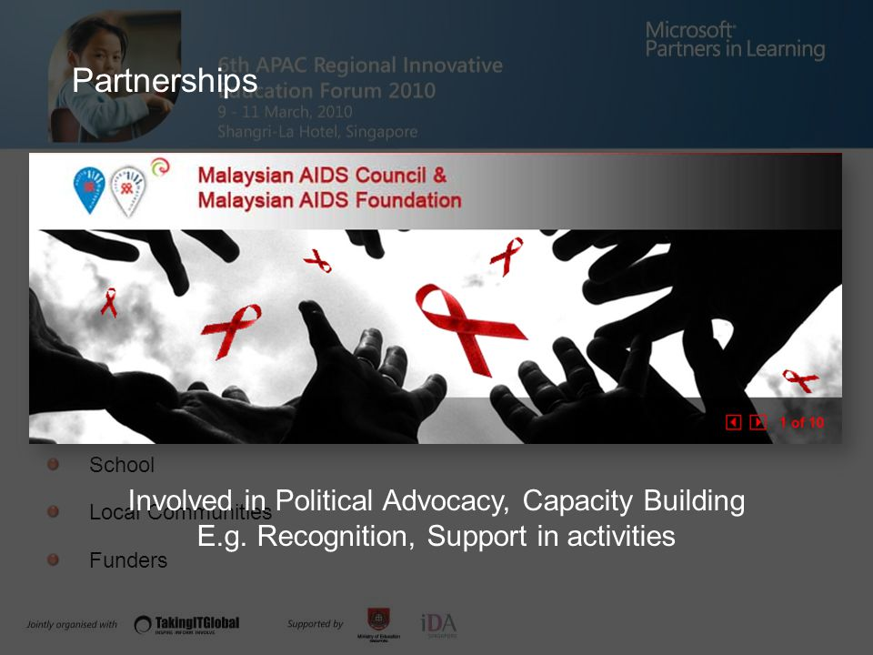Financial Management AISEC The Malaysian AIDS Council MERCY Malaysia AFS Alumni School Local Communities Funders Involved in Political Advocacy, Capacity Building E.g.