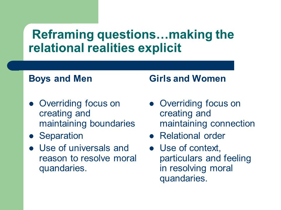 Reframing questions…making the relational realities explicit Boys and Men Overriding focus on creating and maintaining boundaries Separation Use of un