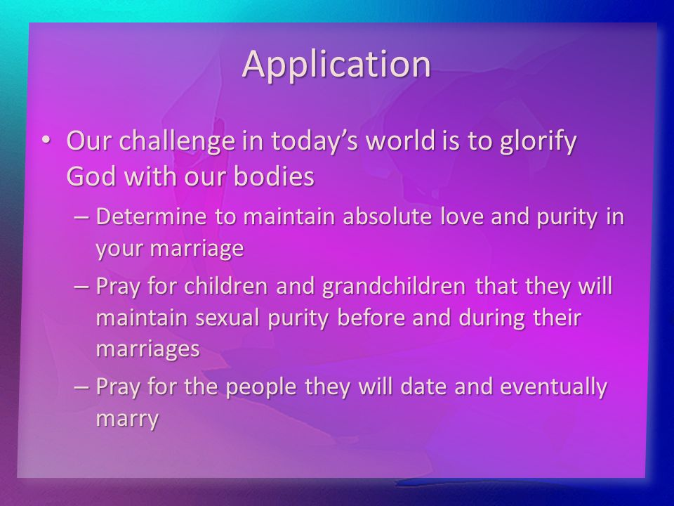 Application Our challenge in today's world is to glorify God with our bodies Our challenge in today's world is to glorify God with our bodies – Determ