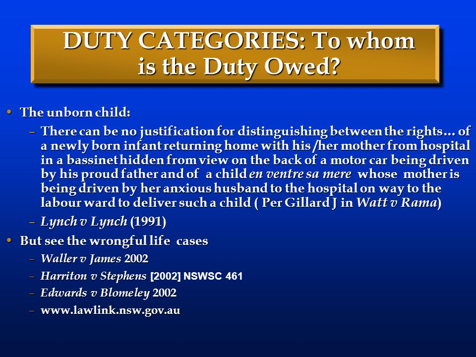 DUTY CATEGORIES: To whom is the Duty Owed.
