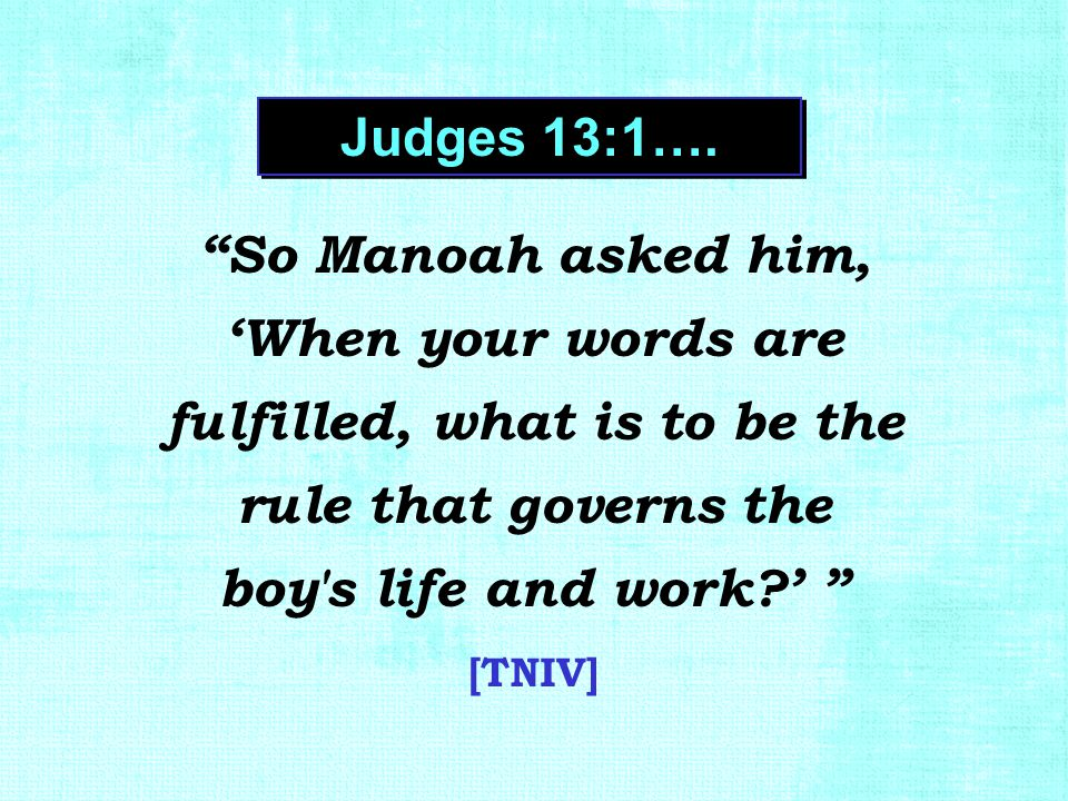 """So Manoah asked him, 'When your words are fulfilled, what is to be the rule that governs the boy's life and work?' "" [TNIV] Judges 13:1…."