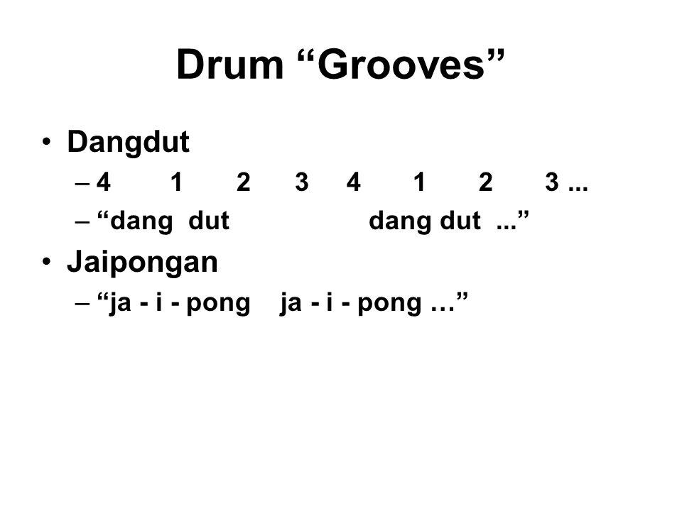 """Drum """"Grooves"""" Dangdut –4 1 2 3 4 1 2 3... –""""dang dut dang dut..."""" Jaipongan –""""ja - i - pong ja - i - pong …"""""""