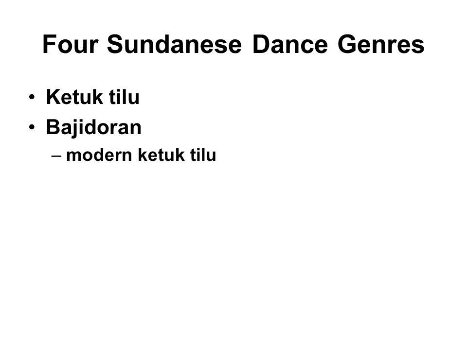 Four Sundanese Dance Genres (cont.) Jaipongan – cleaned-up version –presentational, staged Dangdut