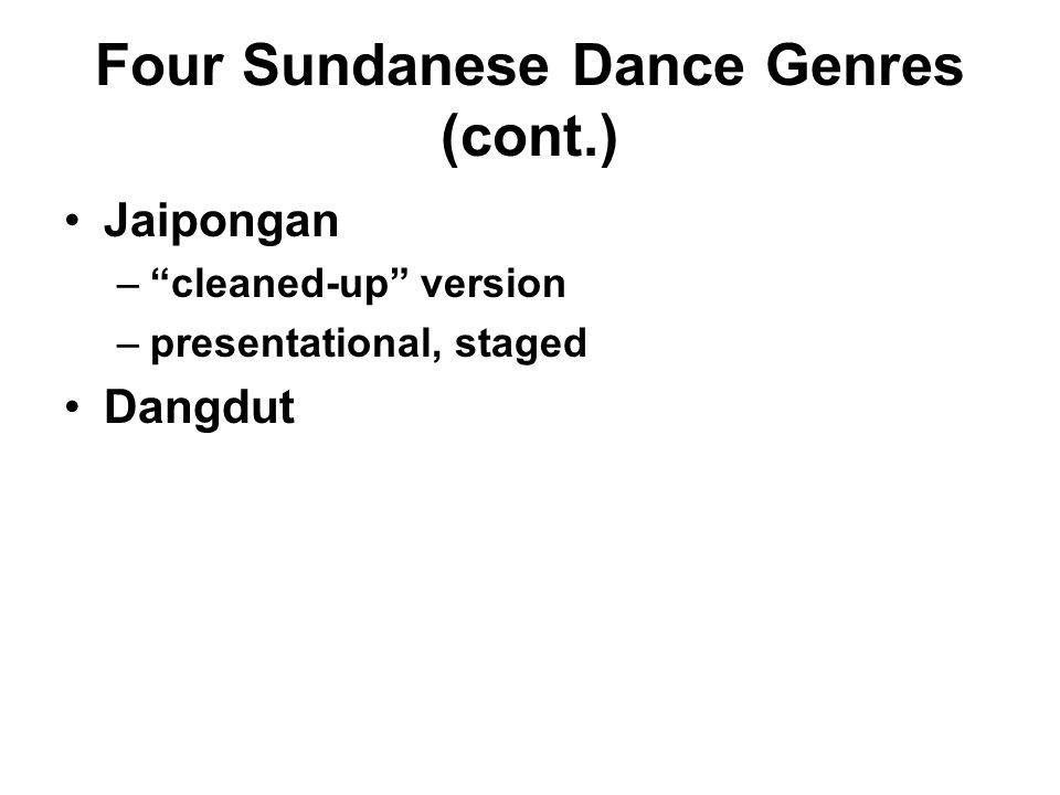 "Four Sundanese Dance Genres (cont.) Jaipongan –""cleaned-up"" version –presentational, staged Dangdut"