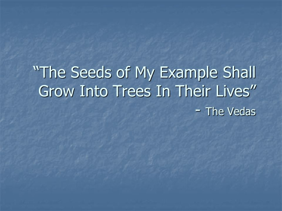 The Seeds of My Example Shall Grow Into Trees In Their Lives - The Vedas