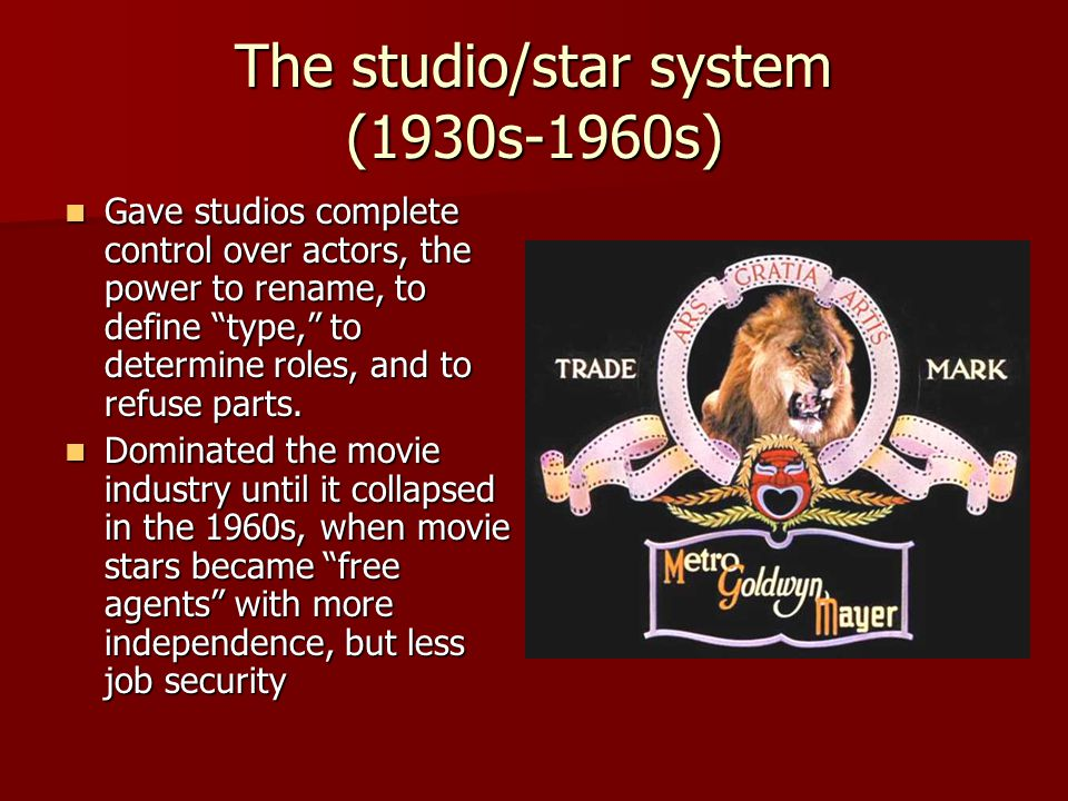 "The studio/star system (1930s-1960s) Gave studios complete control over actors, the power to rename, to define ""type,"" to determine roles, and to refu"