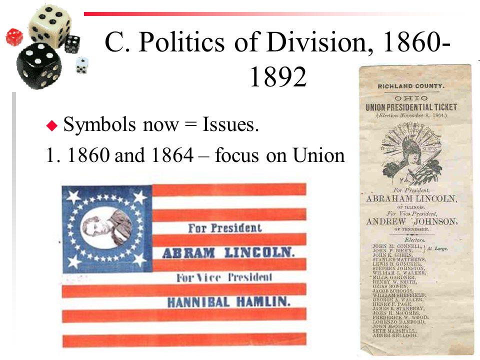 C. Politics of Division, 1860- 1892 u Symbols now = Issues. 1. 1860 and 1864 – focus on Union