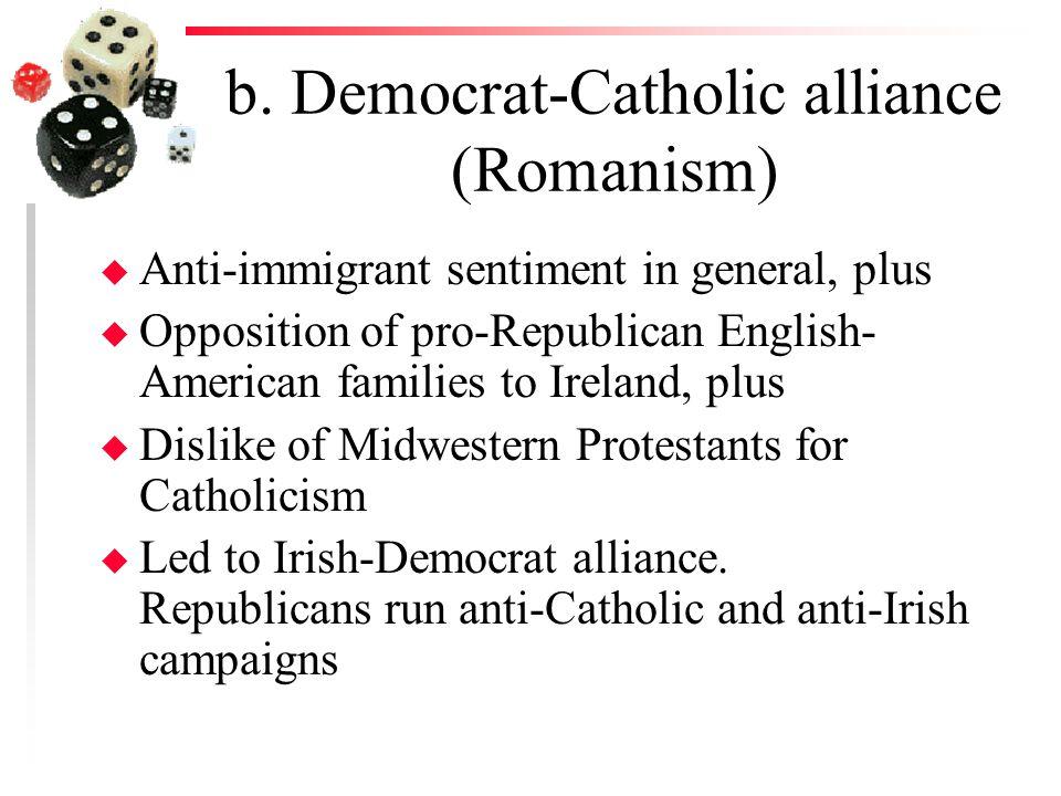b. Democrat-Catholic alliance (Romanism) u Anti-immigrant sentiment in general, plus u Opposition of pro-Republican English- American families to Irel