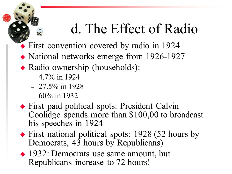 d. The Effect of Radio u First convention covered by radio in 1924 u National networks emerge from 1926-1927 u Radio ownership (households): – 4.7% in