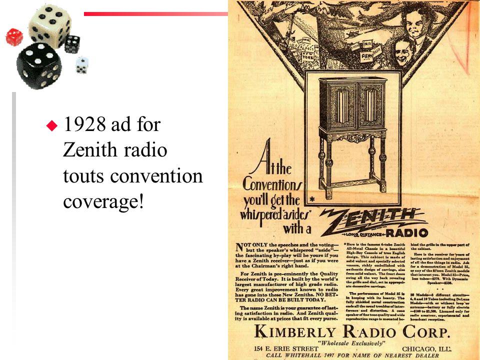 u 1928 ad for Zenith radio touts convention coverage!
