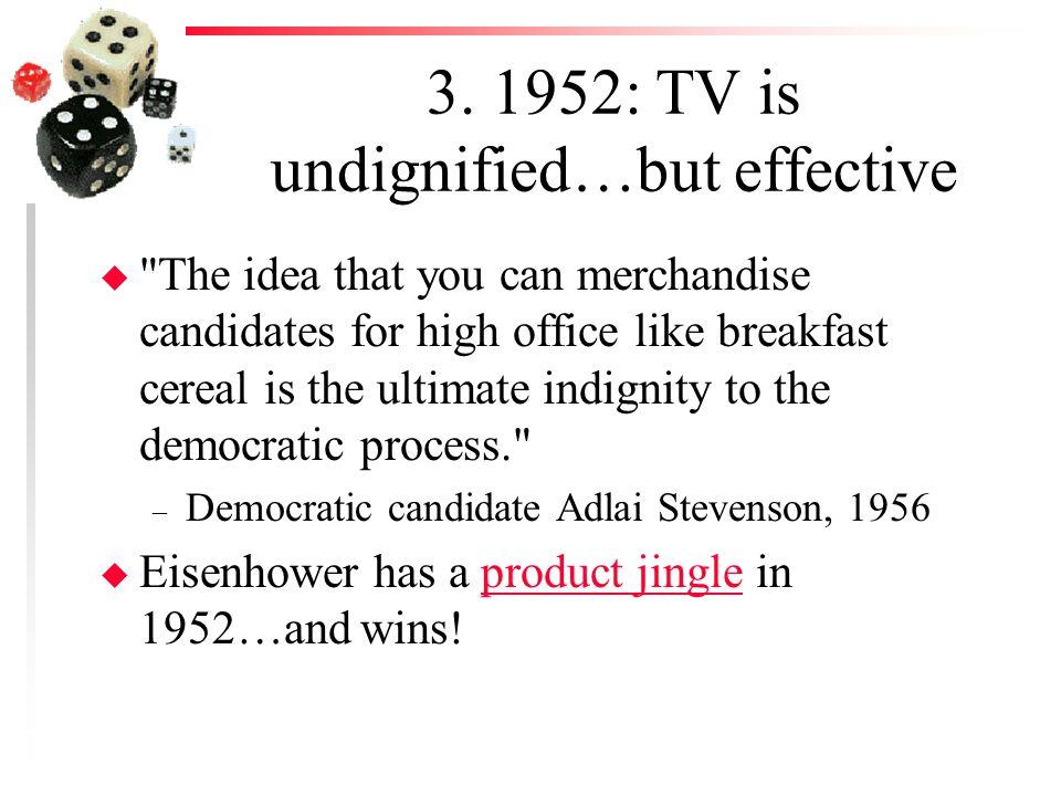 3. 1952: TV is undignified…but effective u