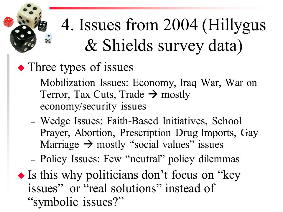 4. Issues from 2004 (Hillygus & Shields survey data) u Three types of issues – Mobilization Issues: Economy, Iraq War, War on Terror, Tax Cuts, Trade
