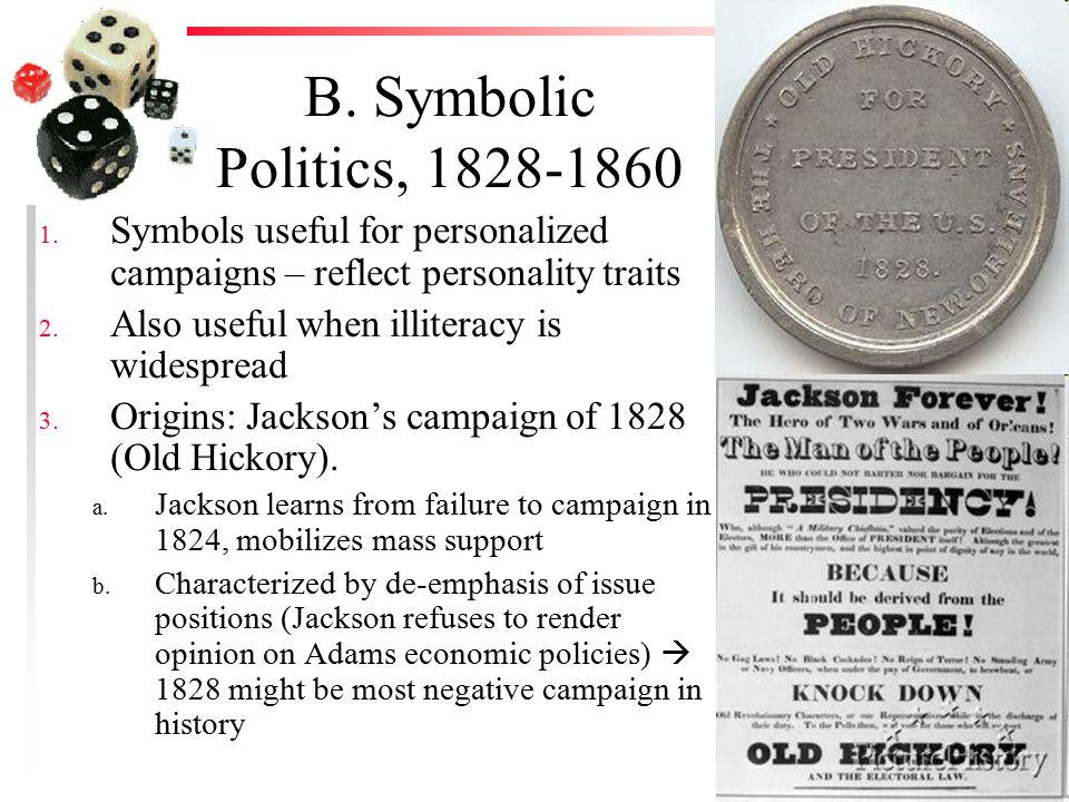 B. Symbolic Politics, 1828-1860 1.