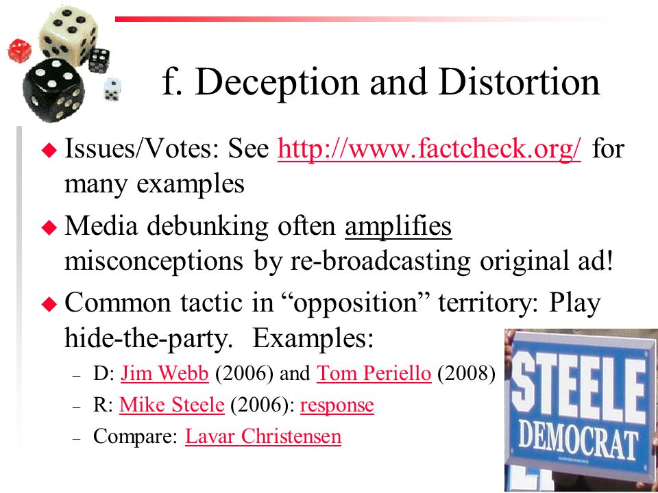f. Deception and Distortion u Issues/Votes: See http://www.factcheck.org/ for many exampleshttp://www.factcheck.org/ u Media debunking often amplifies