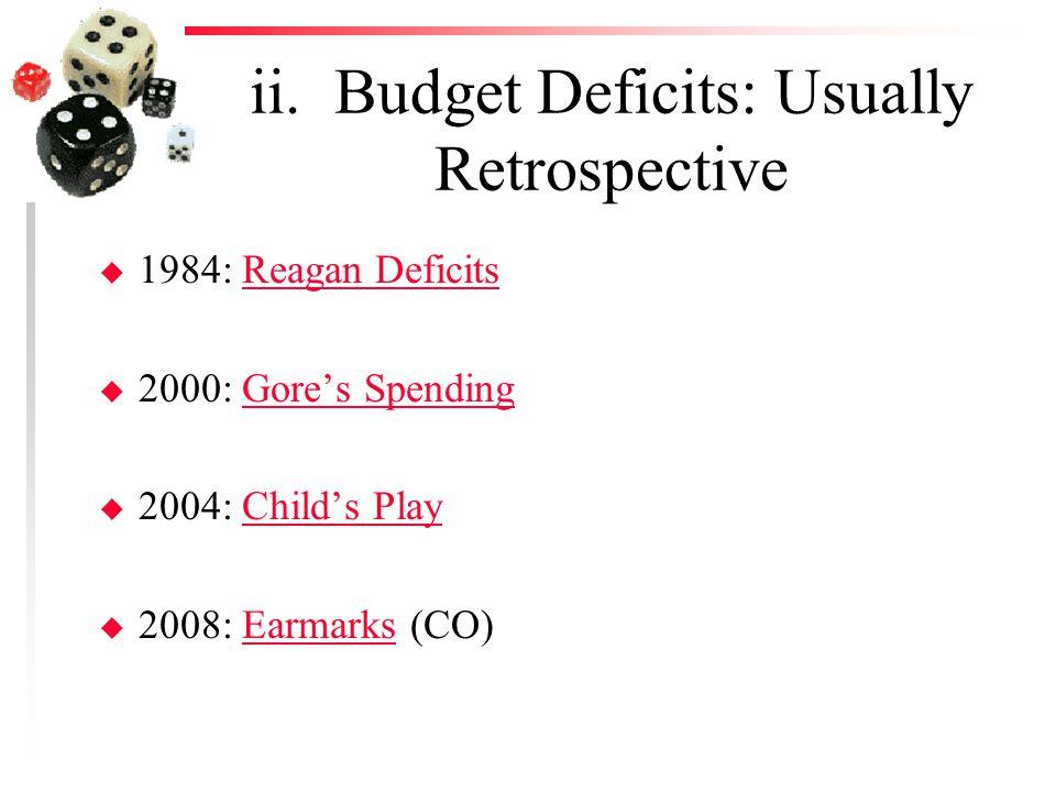 ii. Budget Deficits: Usually Retrospective u 1984: Reagan DeficitsReagan Deficits u 2000: Gore's SpendingGore's Spending u 2004: Child's PlayChild's P