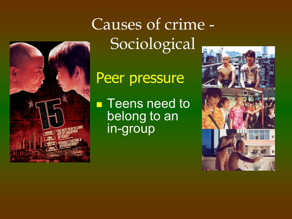 Causes of crime - Sociological Family parental neglect poor role models dysfunctional families