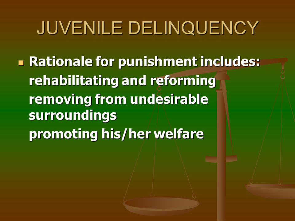 JUVENILE DELINQUENCY Definition: Antisocial or criminal acts performed by juveniles Definition: Antisocial or criminal acts performed by juveniles Treated separately from other crimes eg.