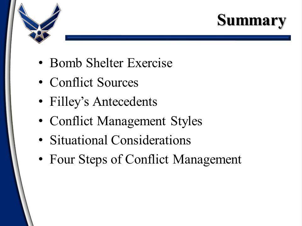 Summary Bomb Shelter Exercise Conflict Sources Filley's Antecedents Conflict Management Styles Situational Considerations Four Steps of Conflict Management