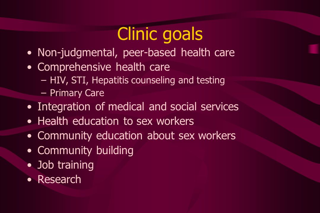 Services Primary and urgent care HIV/Hepatitis/STI/TB counseling and screening STI treatment Immunizations Acupuncture Massage, Reiki therapy Peer Counseling Support Groups Art Therapy and Creative Writing workshop
