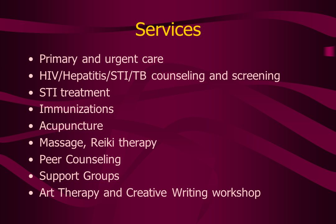 Other Services and Activities Clothing Food Bank Career counseling and training –Lifeprint Career Services –HIV counseling & testing training for sex workers Outreach to strip clubs, massage parlors, stroll districts, hotels Community speakers bureau Medical student elective
