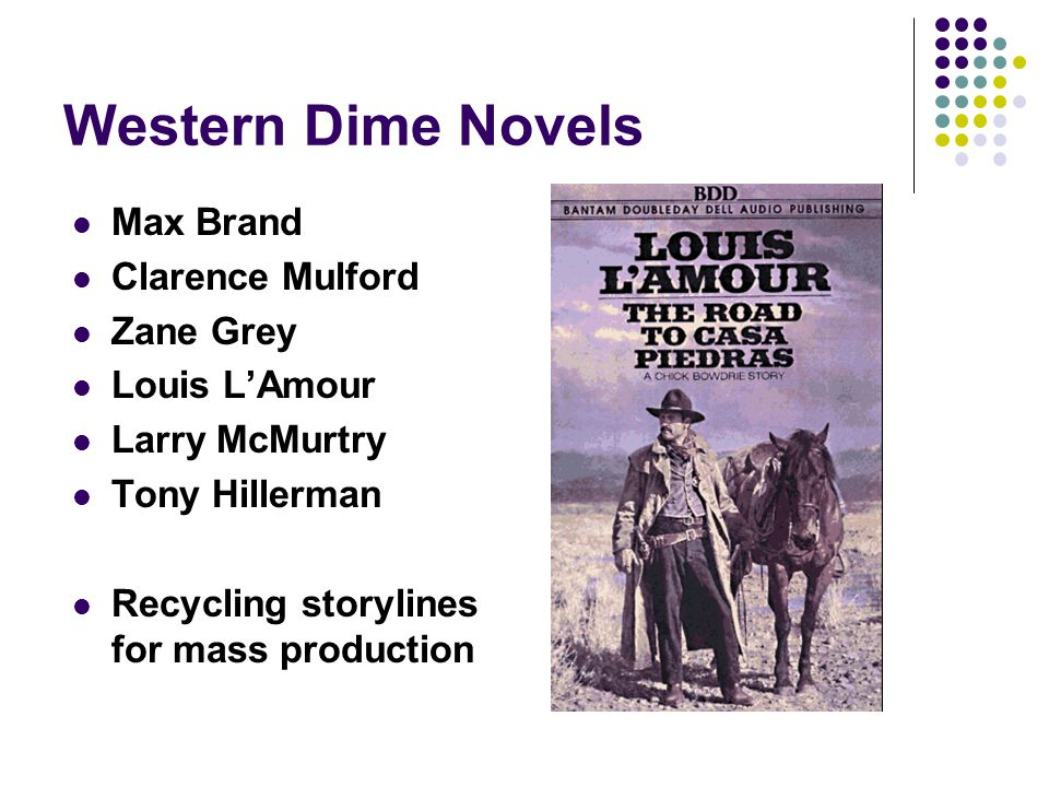 Western Dime Novels Max Brand Clarence Mulford Zane Grey Louis L'Amour Larry McMurtry Tony Hillerman Recycling storylines for mass production