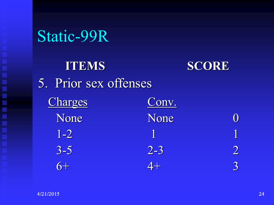 4/21/201524 Static-99R ITEMS SCORE 5. Prior sex offenses ChargesConv. ChargesConv. NoneNone 0 1-2 1 1 3-52-3 2 6+4+ 3
