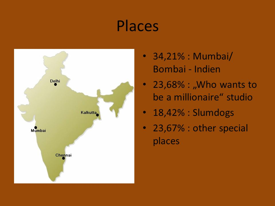 "Places 34,21% : Mumbai/ Bombai - Indien 23,68% : ""Who wants to be a millionaire"" studio 18,42% : Slumdogs 23,67% : other special places"