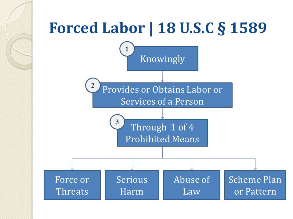 Forced Labor | 18 U.S.C § 1589 Knowingly Provides or Obtains Labor or Services of a Person Through 1 of 4 Prohibited Means Force or Threats Serious Harm Abuse of Law Scheme Plan or Pattern 1 2 3