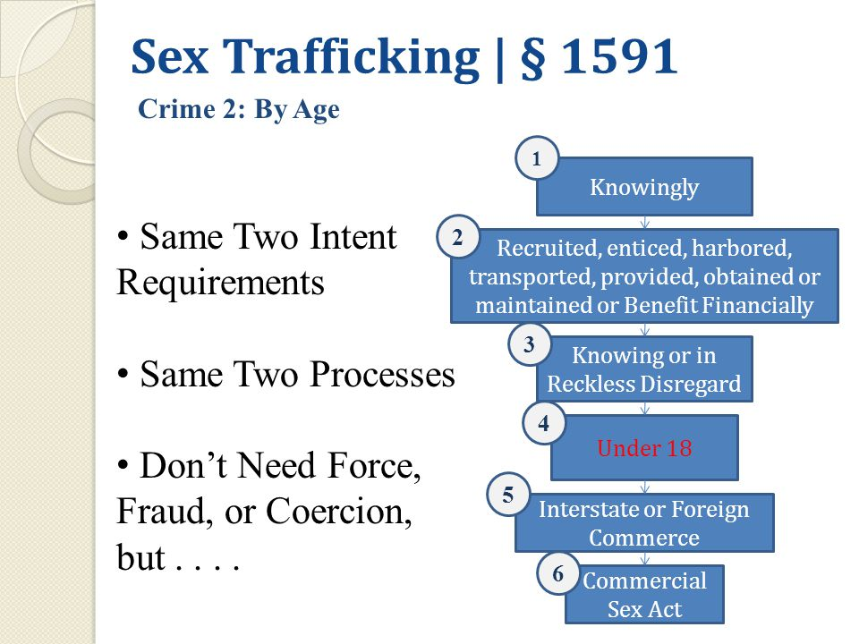 Knowingly Recruited, enticed, harbored, transported, provided, obtained or maintained or Benefit Financially Interstate or Foreign Commerce Knowing or in Reckless Disregard Commercial Sex Act 1 2 3 Under 18 4 5 6 Sex Trafficking | § 1591 Crime 2: By Age Same Two Intent Requirements Same Two Processes Don't Need Force, Fraud, or Coercion, but....
