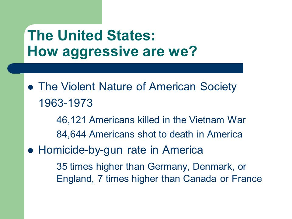 The United States: How aggressive are we.