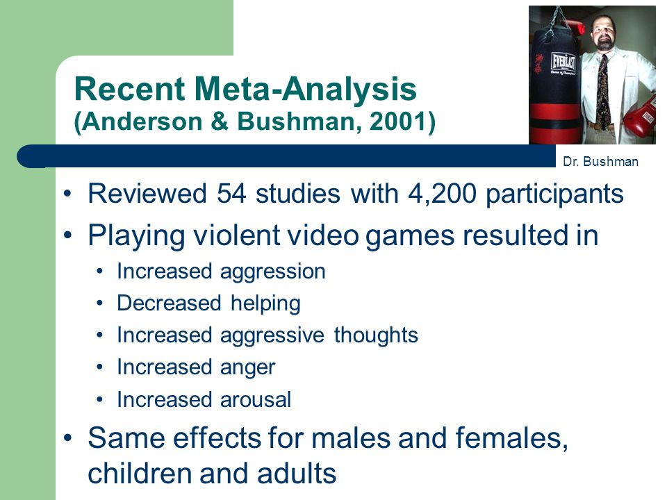 Recent Meta-Analysis (Anderson & Bushman, 2001) Reviewed 54 studies with 4,200 participants Playing violent video games resulted in Increased aggression Decreased helping Increased aggressive thoughts Increased anger Increased arousal Same effects for males and females, children and adults Dr.