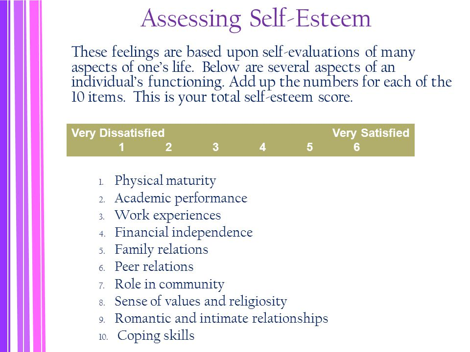 Assessing Self-Esteem These feelings are based upon self-evaluations of many aspects of one's life.