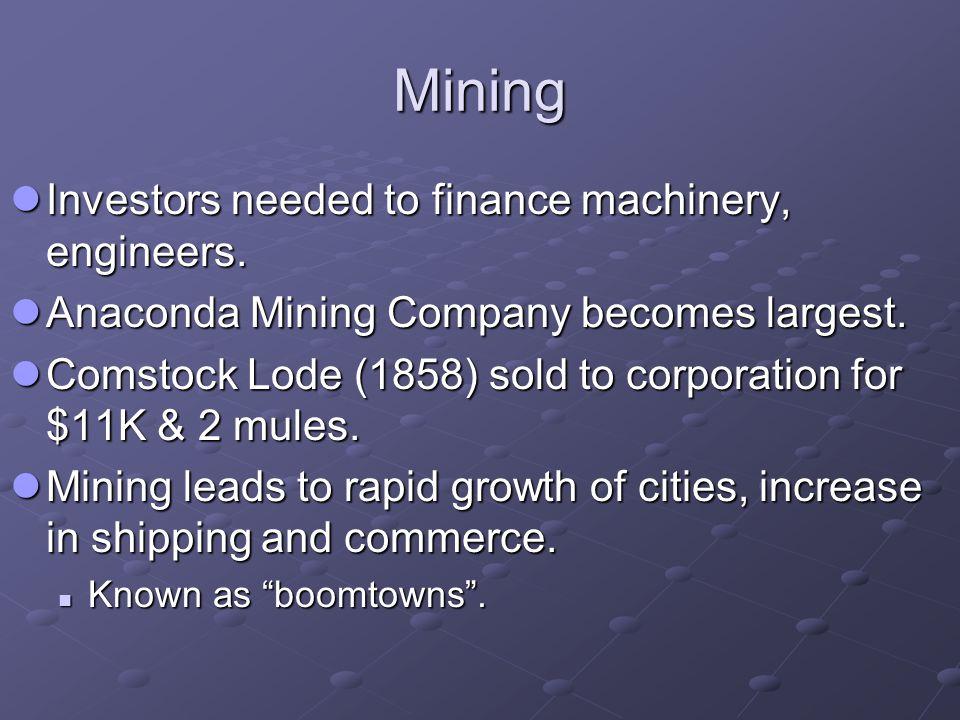 Mining Investors needed to finance machinery, engineers.