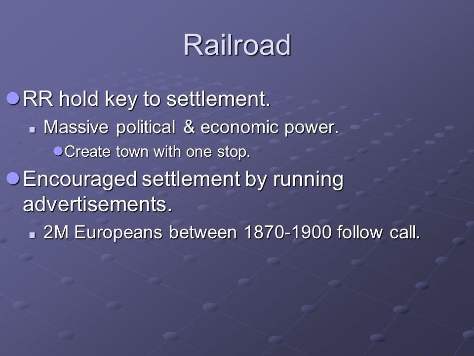 Railroad RR hold key to settlement. RR hold key to settlement. Massive political & economic power. Massive political & economic power. Create town wit