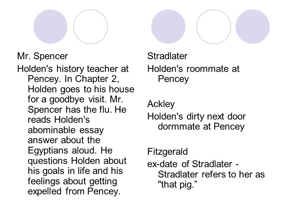 Mr. Spencer Holden's history teacher at Pencey. In Chapter 2, Holden goes to his house for a goodbye visit. Mr. Spencer has the flu. He reads Holden's