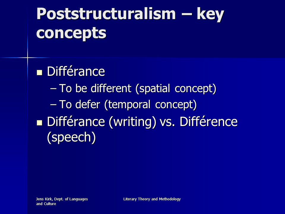 Jens Kirk, Dept. of Languages and Culture Literary Theory and Methodology Poststructuralism – key concepts Différance Différance –To be different (spa