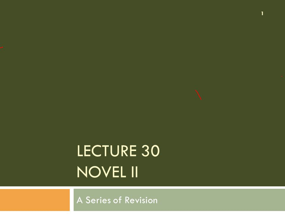 LECTURE 30 NOVEL II A Series of Revision 1