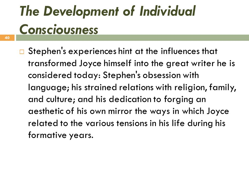 The Development of Individual Consciousness  Stephen's experiences hint at the influences that transformed Joyce himself into the great writer he is